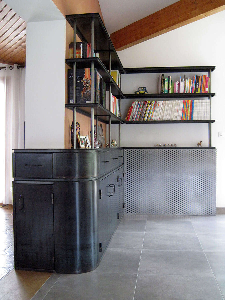 biblioth que d 39 angle eidos atelier de ferronnerie d 39 art. Black Bedroom Furniture Sets. Home Design Ideas